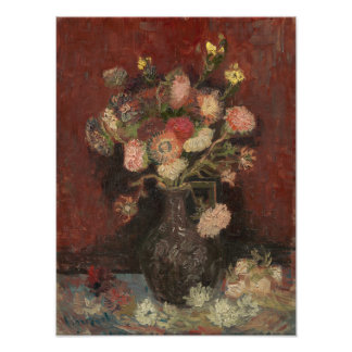 Vase with Chinese Asters and Gladioli by Van Gogh Photo Print