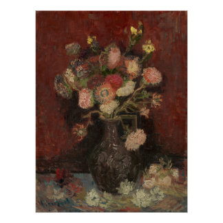 Vase with Chinese Asters and Gladioli by Van Gogh Poster