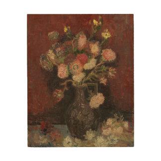 Vase with Chinese Asters and Gladioli by Van Gogh Wood Print