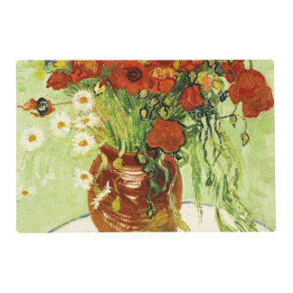Vase with Cornflowers and Poppies Paper Placemat Laminated Place Mat
