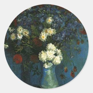 Vase with Cornflowers and Poppies, van Gogh Classic Round Sticker
