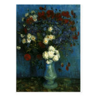 Vase with Cornflowers and Poppies, van Gogh Post Card