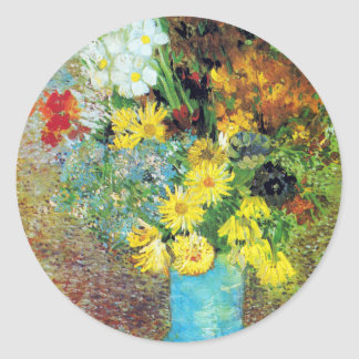 Vase with Daisies and Anemones by Van Gogh Classic Round Sticker