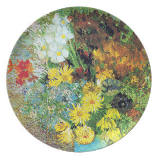 Vase with Daisies and Anemones by Van Gogh Dinner Plate