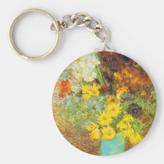 Vase with Daisies and Anemones Print Basic Round Button Keychain