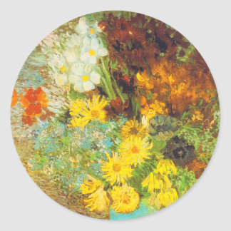 Vase with Daisies and Anemones Print Classic Round Sticker