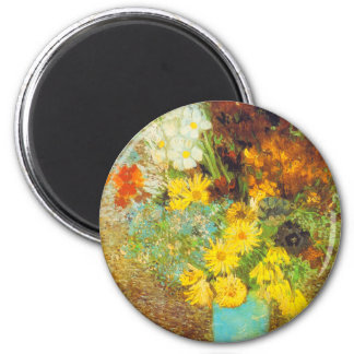 Vase with Daisies and Anemones Print Magnet