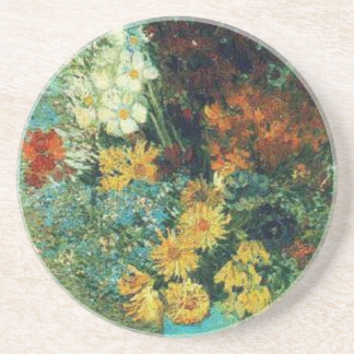Vase with Daisies and Anemones Sandstone Coaster