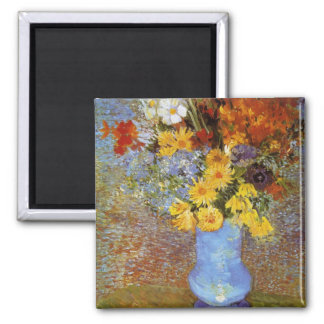 Vase with daisies and anemones - Van Gogh 2 Inch Square Magnet