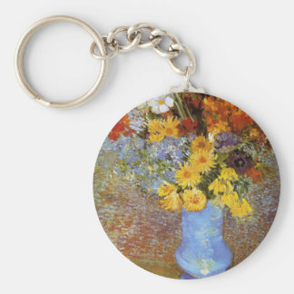 Vase with daisies and anemones - Van Gogh Basic Round Button Keychain