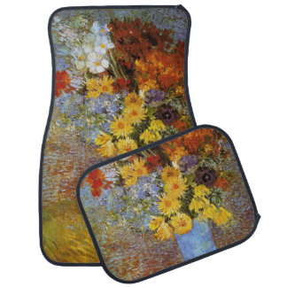 Vase with daisies and anemones - Van Gogh Car Floor Mat