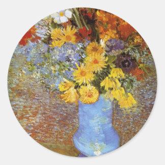 Vase with daisies and anemones - Van Gogh Classic Round Sticker