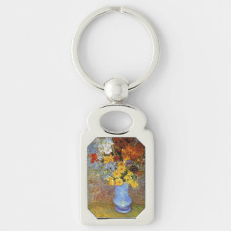 Vase with daisies and anemones - Van Gogh Silver-Colored Rectangular Metal Keychain