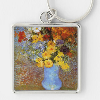 Vase with daisies and anemones - Van Gogh Silver-Colored Square Keychain