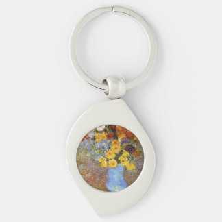 Vase with daisies and anemones - Van Gogh Silver-Colored Swirl Metal Keychain