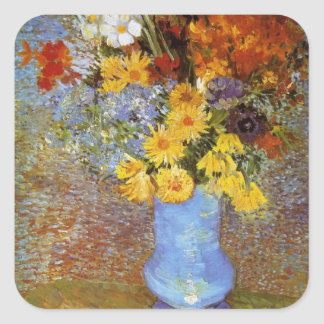 Vase with daisies and anemones - Van Gogh Square Sticker
