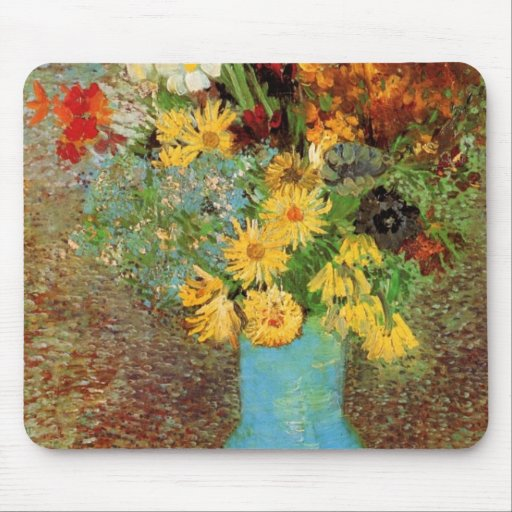 Vase with Daisies and Anemones - Vincent van Gogh Mouse Pad