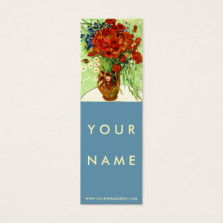 Vase with Daisies and Poppies by Van Gogh Skinny Mini Business Card
