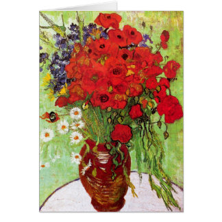 Vase with Daisies and Poppies, Van Gogh Greeting Card