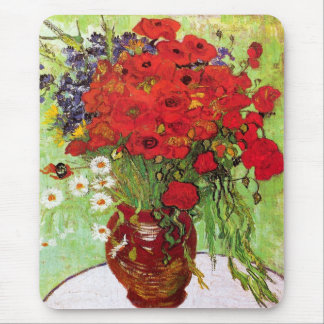 Vase with Daisies and Poppies, Van Gogh Mouse Pad