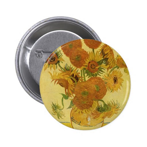 Vase with Fifteen Sunflowers by Van Gogh Buttons