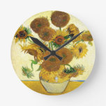 Vase With Fifteen Sunflowers By Vincent Van Gogh Clocks