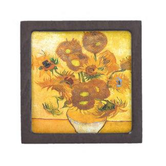 Vase with Fifteen Sunflowers by Vincent van Gogh Jewelry Box
