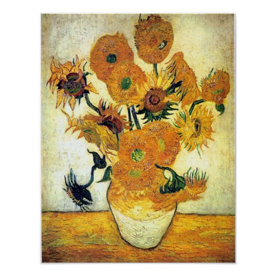 Vase With Fifteen Sunflowers By Vincent Van Gogh Poster Zazzle