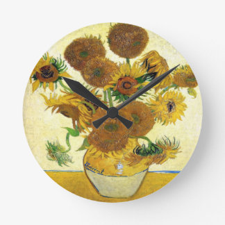 Vase With Fifteen Sunflowers By Vincent Van Gogh Round Clock