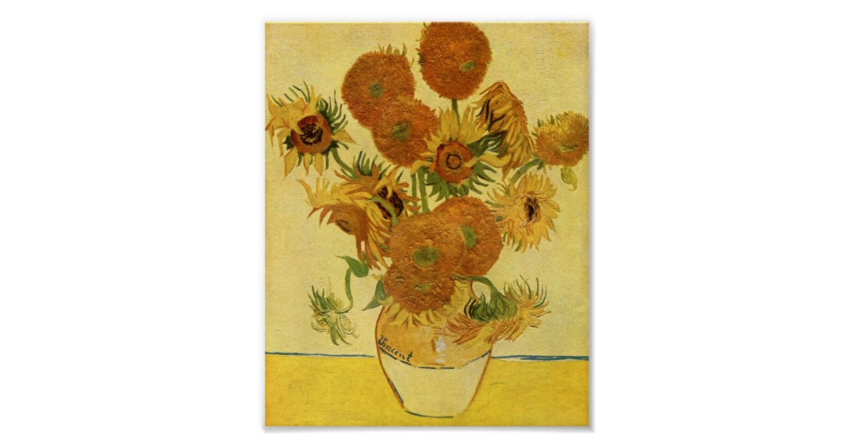 Vase With Fifteen Sunflowers Van Gogh Fine Art Poster Zazzle