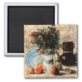Vase with Flowers Fruits Coffeepot by van Gogh Refrigerator Magnets