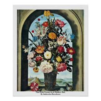 Vase With Flowers In A Window. Met, Poster