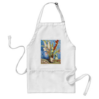 Vase with Gladioli and China Asters van gogh Adult Apron