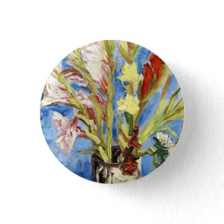 Vase with Gladioli and China Asters van gogh Buttons