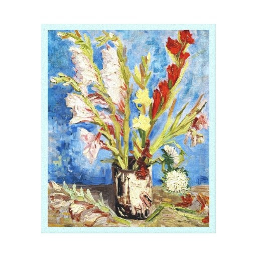 Vase with Gladioli and China Asters van gogh Stretched Canvas Prints