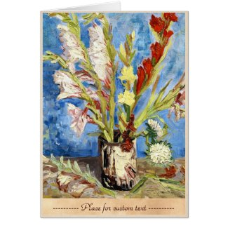 Vase with Gladioli and China Asters van gogh Cards