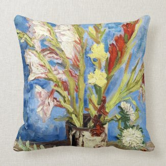 Vase with Gladioli and China Asters van gogh Pillow