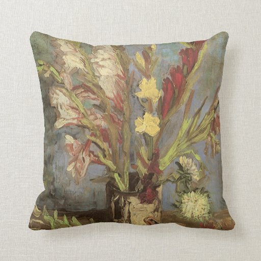 Vase with Gladioli by Vincent van Gogh Pillows
