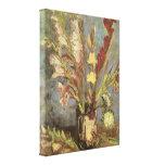 Vase with Gladioli van Gogh, Vintage Impressionism Canvas Print