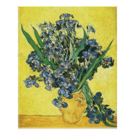 Vase with irises against yellow background posters