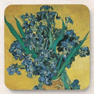 Vase with Irises by Vincent van Gogh, Vintage Art Beverage Coaster