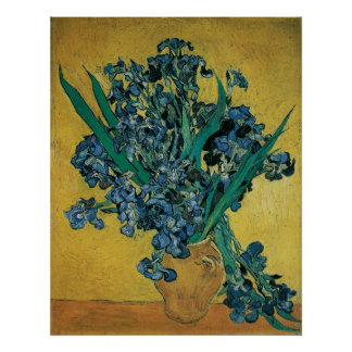 Vase with Irises by Vincent van Gogh, Vintage Art Poster