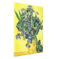 Vase with Irises in Yellow Background Stretched Canvas Print