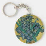 Vase with Irises, Yellow Background by Van Gogh Basic Round Button Keychain