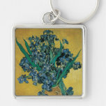 Vase with Irises, Yellow Background by Van Gogh Silver-Colored Square Keychain