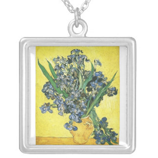 vase with irises, yellow background, van Gogh Silver Plated Necklace