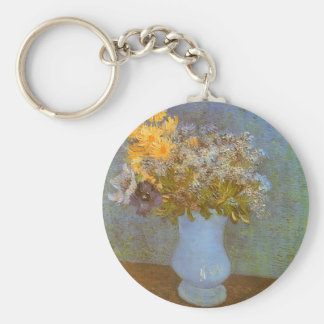 Vase with Lilacs, Daisies, Anemones by Van Gogh Basic Round Button Keychain