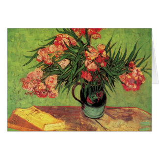 Vase with Oleanders and Books by van Gogh Card
