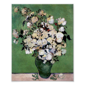 Vase with Pink Roses (F682) Van Gogh Fine Art Poster