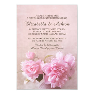 Vase with Pink Roses | Romantic Rehearsal Dinner Card